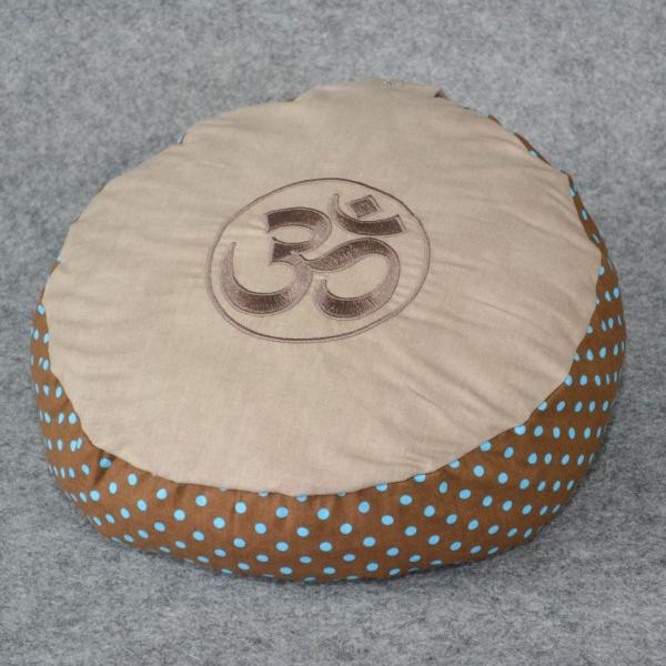 Yogakissen rund - taupe mit türkisen Punkten auf braun